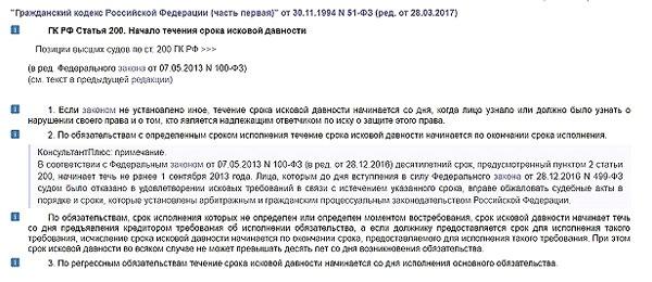 гражданский кодекс рф статья 200